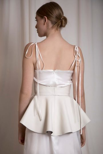 white leather peplum waist belt