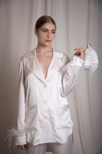 Satin night suit with feather embellishment