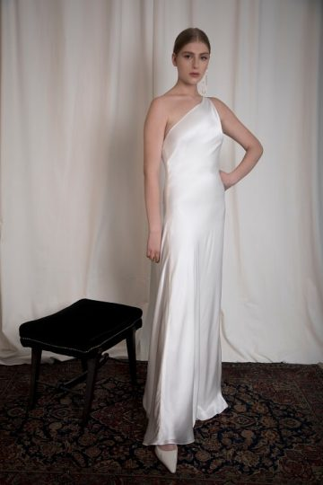 one-shouldered silk satin dress