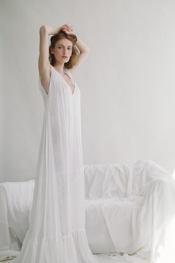 Silk chiffon and Chantilly lace dress