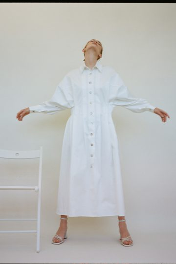 Pleated cotton-twill shirt dress